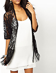 Women's Lace Black Vest , Asymmetrical ½ Length Sleeve Tassel/Lace