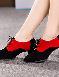 Women's Dance Shoes Latin Suede Chunky Heel Black/Red