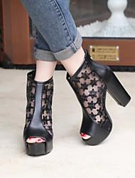 Stiletto - 6-9cm - Damenschuhe - Pumps/Heels ( Kunstpelz , Schwarz/Rot/Mandelfarben )