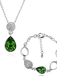 Arinna Fashion Jewelry Set Women 18k white Gold Plated Green Oval Rhinestone Necklace & Bracelet Gift Set G1366#1