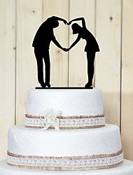 Cake Toppers Classic Couple Acrylic Heart-shaped Gesture Cake Topper