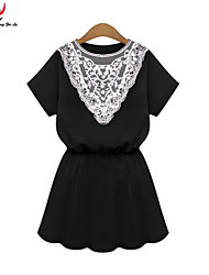 MENGFEILU®Women's Summer New Arrival Lace Patchwork Tunic Dresses