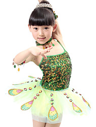 Ballet Performance Dresses Children's Polyester/Tulle Peacock Sequins Dress Red/Green Kids Dance Costumes