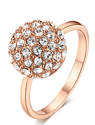 T&C Women's Top Quality Clear Crystal Ball Ring 18K Rose Gold Plated Austria Crystals Jewelry