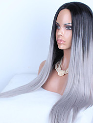 European and American Popular Black and White Color Mixture Long Straight Hair