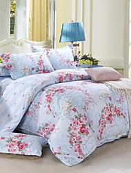 Floral Cotton / Faux Silk 4 Piece Duvet Cover Sets