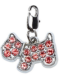 Red Rhinestone Decorated Tiny Dog Style Collar Charm for Dogs Cats
