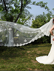 Wedding Veil Two-tier Cathedral Veils Lace Applique Edge White Ivory