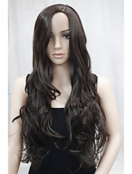nouvelle mode brun longs ondulés perruque frisée ne est pas une frange côté peau partie supérieure des femmes
