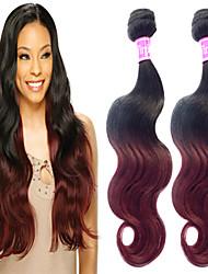 "3 Pcs/Lot 12""-26"" 100% Brazilian Unprocessed Virgin Human Hair #1B-Burgundy Color Ombre Body Wave Hair Weaves"