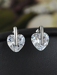 Earring Stud Earrings Jewelry Women Brass / Cubic Zirconia 2pcs Silver