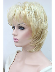 "New  Fluffy Wave Short 14"" Women's Wigs  Golden Blonde Mix Synthetic Hair Full Wig"