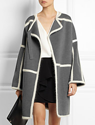 Manteau Aux femmes Manches Longues Vintage/Décontracté/Soirée/Travail Cachemire