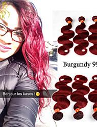 3pcs / lot Borgonha onda do corpo brasileiro tecer cabelo virgem pacotes de vinho 6a Remy 99j vermelho extensões de cabelo humano