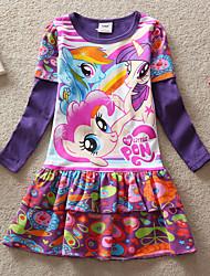 Girl's Spring New 3-8 Years Cartoon Cute Long Sleeve Brand Dresses (Cotton)