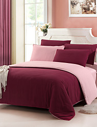 Yuxin® Claret Color Cotton Duvet Cover Sets 4 Piece Suit Comfort Simple Modern for Twin Full and Queen Bed Size