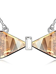 Love Aside Me Short Necklace Plated with 18K True Platinum Crystal Golden Shadow Crystallized Austrian Crystal Stones