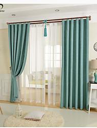 un panel azul mezcla de algodón de lino sólida cortina panel de cortina