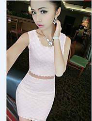 N.N.N Women's Party/Work Round Sleeveless Dresses (Lace/Mesh)
