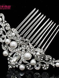 Neoglory Jewelry Clear Rhinestone and Imitation Pearl Flower Hair Combs Hairpins for Lady/Daily/Pageant