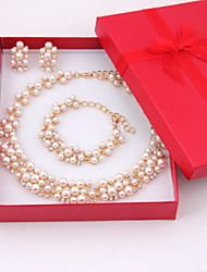 Anniversary Women Costume Gold Plated Imitation Pearl Jewelry Sets