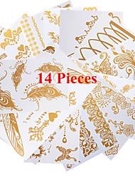 מדבקות קעקועים - תבנית - נשים/גברים/מבוגר/נוער - זהב - נייר - 14 - 21*11CM - דפוס