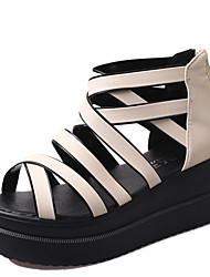 Zapatos de mujer - Tacón Bajo - Talón Descubierto - Sandalias - Oficina y Trabajo / Vestido - Semicuero - Negro / Beige