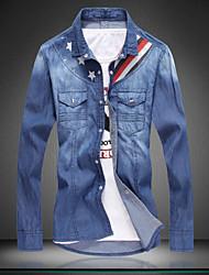 Men's Fashion Retro Washed Long Sleeved Denim Shirt