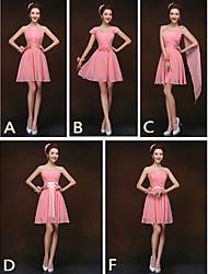 Short / Mini Bridesmaid Dress - Lace-up Sheath / Column Halter / Sweetheart / Straps with Sash / Ribbon