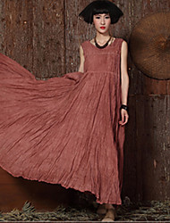 Women 2015 Summer Vintage Loose Casual/Party Linen Cotton Sexy Sleeveless Asymmetrical Long Dress
