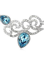 Flourishing Year Short Necklace Plated with 18K True Platinum Aquamarine Crystallized Austrian Crystal Stones
