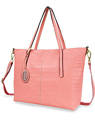 Women Cowhide Casual Shoulder Bag / Tote Pink