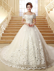 Ball Gown Wedding Dress - Classic & Timeless Lacy Looks Chapel Train Off-the-shoulder Tulle with Appliques / Sequin / Beading