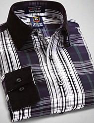 U&Shark New Hot! Men's 100% Cotton San Carlo Long Sleeve Shirt with Green Black White Check/CSR001