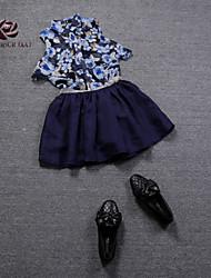 Women's Flower Print Chiffon Shirt & Flax Skirt Suit