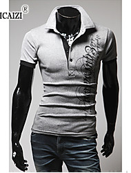 SPCZ® Men's Printed Letters Collar Short Sleeve T-shirt
