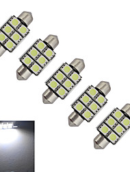 JIAWEN® 5pcs Festoon 36mm 1.5W 6x5050SMD 100-150LM 6000-6500K Cool White Light LED Car Light (DC 12V)