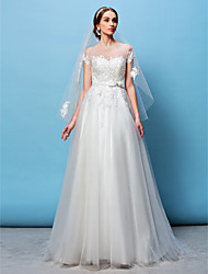 LAN TING BRIDE A-line Princess Wedding Dress See-Through Sweep / Brush Train Bateau Tulle with Appliques Beading Bow Sash / Ribbon
