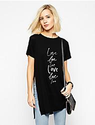 Camisetas ( Algodón Compuesto )- Casual/Impresión Redondo Manga Corta para Mujer