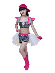 Jazz Performance Outfits Children's Performance Polyester Fashion Matching Outfit Black/Blue Kids Dance Costumes