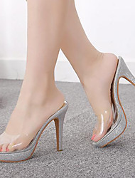Women's Shoes Silicone Stiletto Heel Peep Toe Sandals Dress Silver