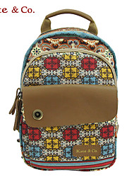 Women Cowhide / Canvas Casual Backpack Multi-color