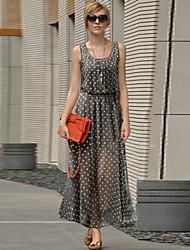 Women's Polka Dots Print Midi Slim Chiffon Dress(More Colors)