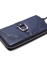 Women Casual Cowhide Zipper Wallets