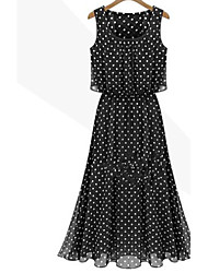 FengYa Women's New European Chiffon Vintage Waisted Dots Strapless Vest Dress