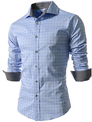 Men's Fashion  Plaid Slim Long Sleeved Shirt