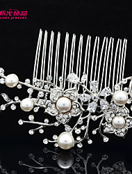 Neoglory Jewelry Flower Hair Combs Bridal Accessories with Clear Rhinestone and Imitation Pearl for Lady/Wedding/Party
