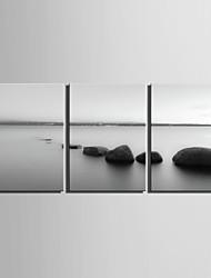 E-Home® Leinwand Kunst Wasser Stein dekorative Malerei Set von 3