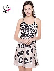 haoduoyi® Women's Gradient Leopard Print Back Cross Strap Sexy Dress