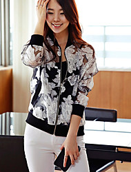 Women's Vintage Casual Cute Thin Long Sleeve Regular Jacket (Organza)
